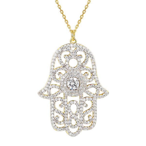 Designer Center Solitaire 14k Gold Finish Hamsa hand Pendant