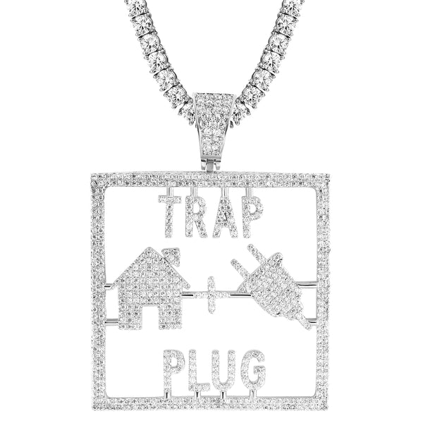 Men's Square Trap House Plug Silver Iced Out Rapper Pendant