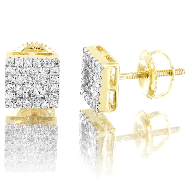 Square Shape Micro Pave Set 0.34Ct Diamonds 10k Gold Stud Earrings