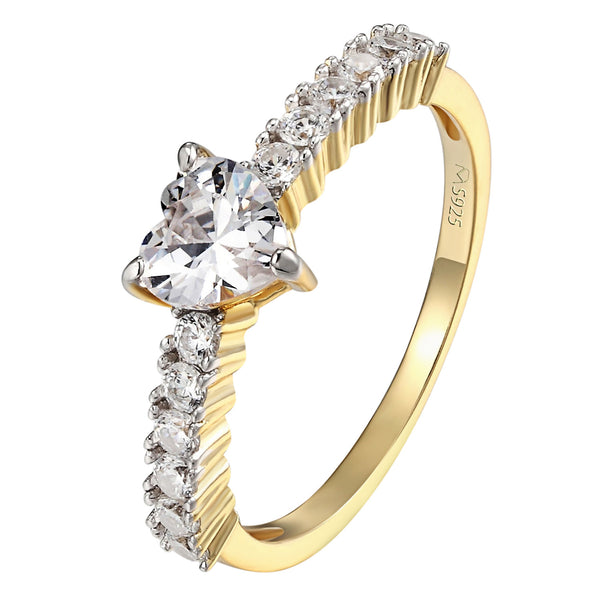 Heart Cut Solitaire Engagement Ring Promise 14k Gold On Sterling Silver Wedding