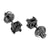 Black Princess Cut Earrings Screw Back Black Finish Studs