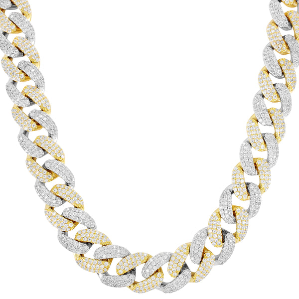 18mm Two Tone Finish Men's IcedOut Miami Cuban Chain