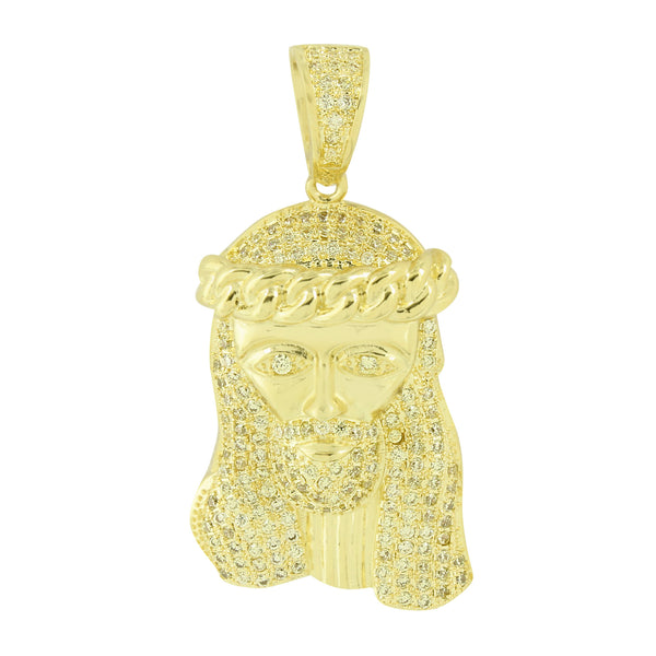 Men Jesus Pendant 14K Gold Finish Yellow Lab Created Diamonds Miami Cuban Design