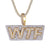 Two Tone WTB Slang 3D Iced Out Pendant