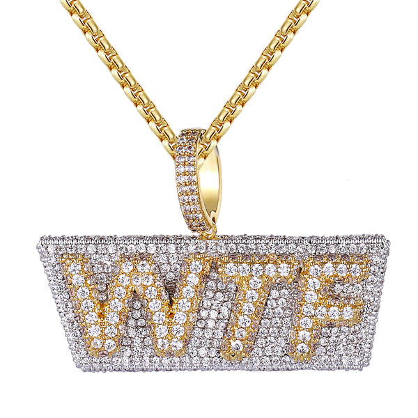 14k Gold Finish Two Tone WTF Slang Iced Out 3D Pendant