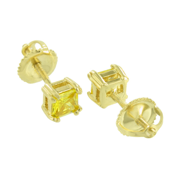 Canary Princess Cut Screw Back Yellow Gold Finish Earrings