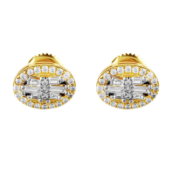 Gold Tone Oval Shape Baguette Icy Stud Solitaire Earring