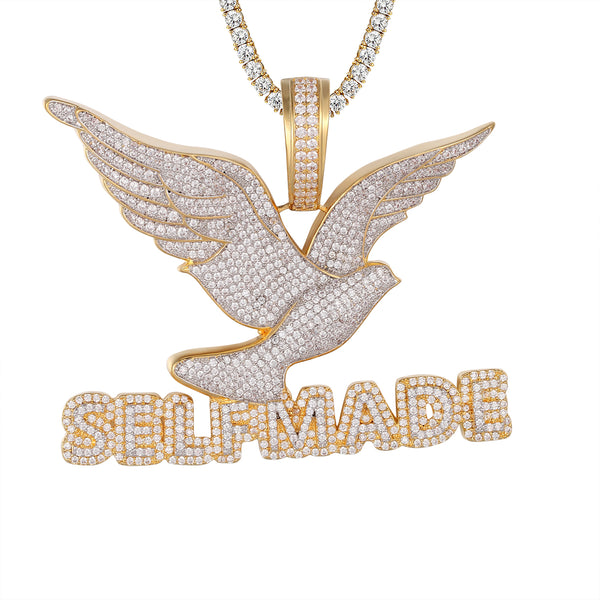 Self Made Flying Bird Peace .925 Silver Bling Rapper Pendant Chain