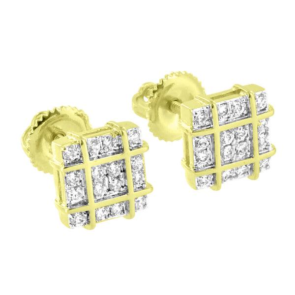 Square Design Earrings 14k Yellow Gold Tone Simulated Diamonds Screw Back Iced Out