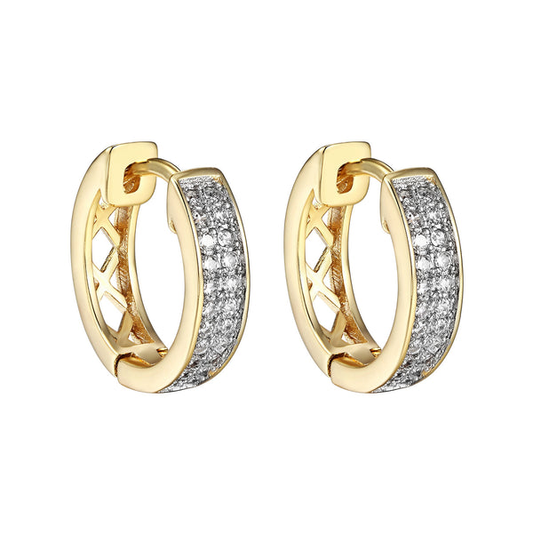 18k Gold Plated Iced Out CZ Hoop Huggie Men Womens Hip Hop Earrings Classy