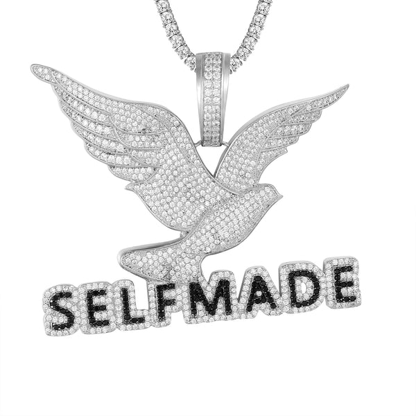 White Icy Flying Bird Self Made Wings Custom Pendant Chain