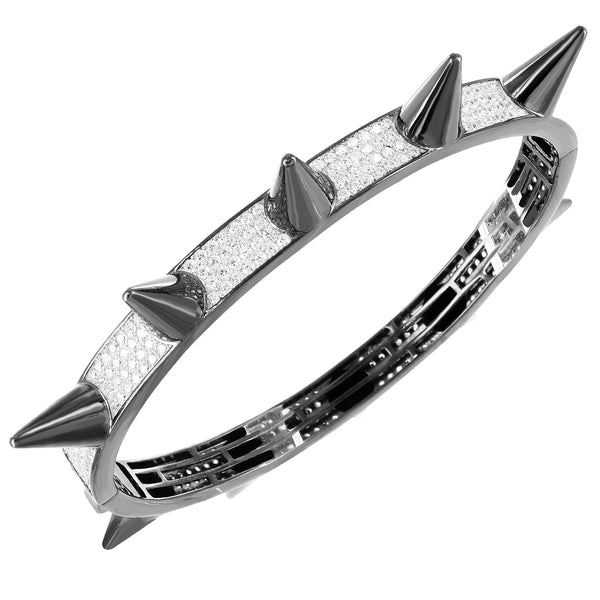 Designer Silver Spike Iced Out Bangle Men's Bracelets Choices