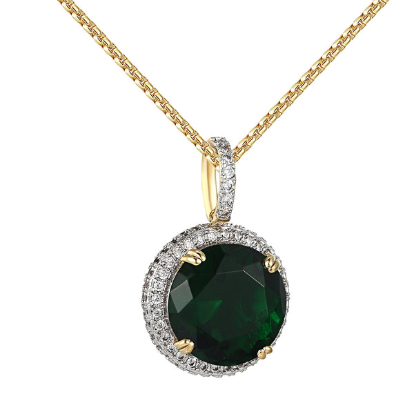 Green Ruby CZ Pendant Solitaire 14k Gold Finish Iced Out Hip Hop Steel Necklace