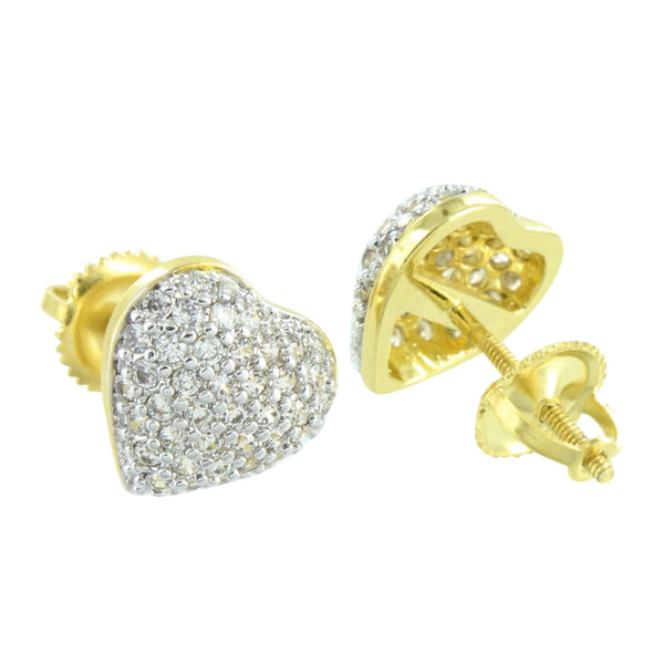 Ladies Heart Shape Earrings Yellow Gold Finish Cluster Set
