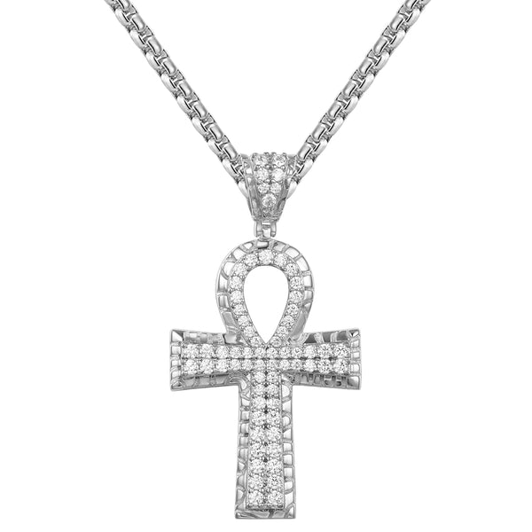Nugget Design Religious Ankh Cross Silver Pendant