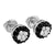 Round Cluster Set Earrings Black White Lab Diamonds Screw Back White Gold Finish 8mm