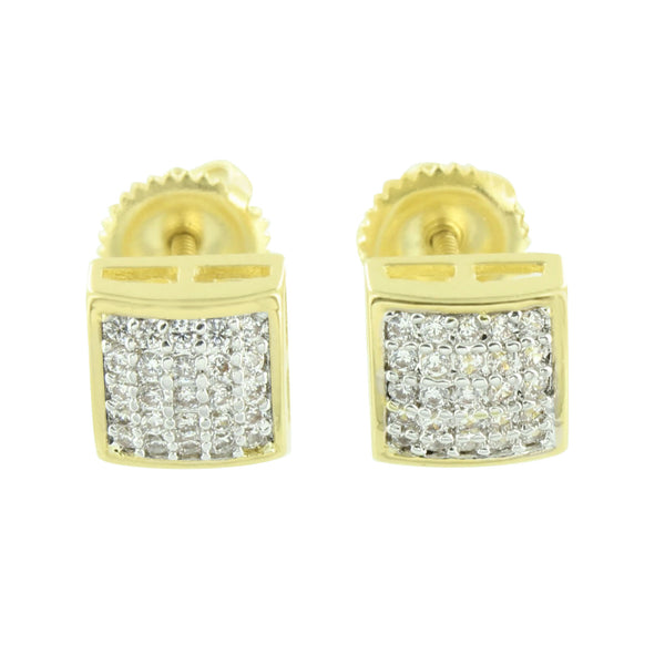 Square Dome Earrings 14K Yellow Gold Finish