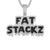 Sterling Silver Fat Stackz Black Icy Dripping Custom Pendant Chain