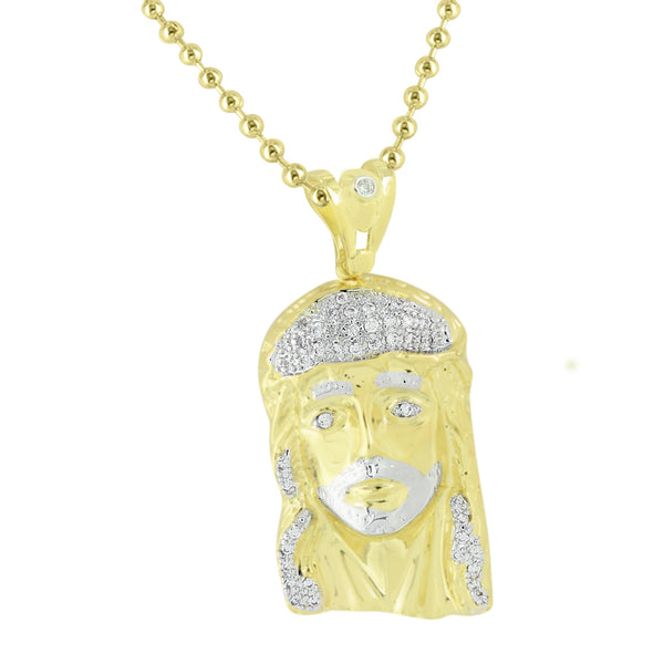 Men Yellow Gold Jesus Pendant 14k Finish Lab Created Diamonds 1.8 Inch Christ Charm