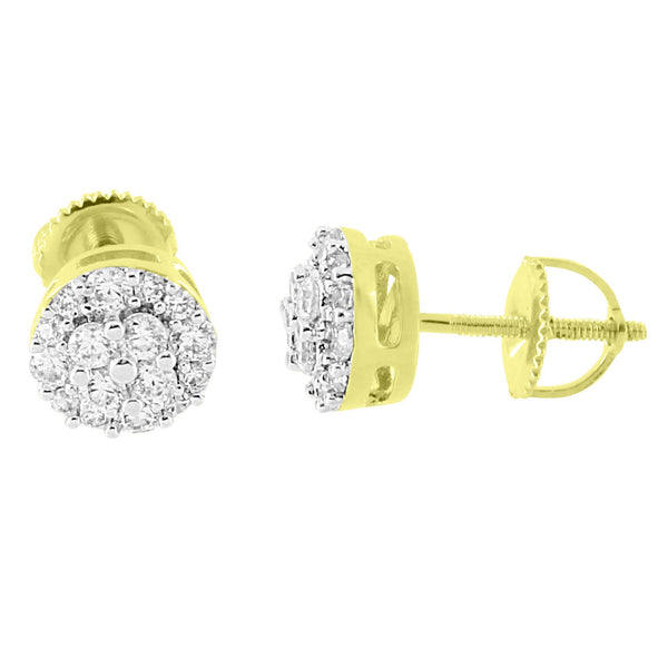 Round Cluster Prong Earrings 14K Yellow Gold Finish  Simulated Diamonds