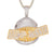 Gold Tone Shark Face Bread Winner Bling Custom Pendant