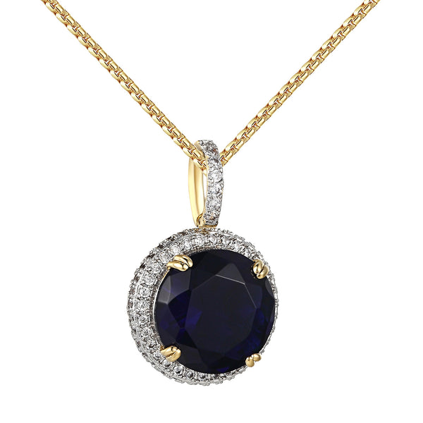 Blue Solitaire Ruby CZ Pendant 14k Gold Finish Hip Hop Bling Free Chain Birdman