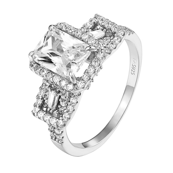 Sterling Silver Engagement Ring Princess Cut Solitaire Cubic Zirconia Wedding