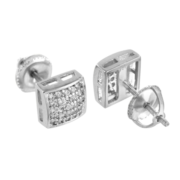 White Square Dome Earrings Screw Back Cluster Set