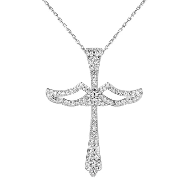 Solitaire Angel Design Silver Cross Pendant 18