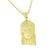 Mens Gold Jesus Pendant Lab Created Diamonds 14K Finish Stainless Steel Bead Chain