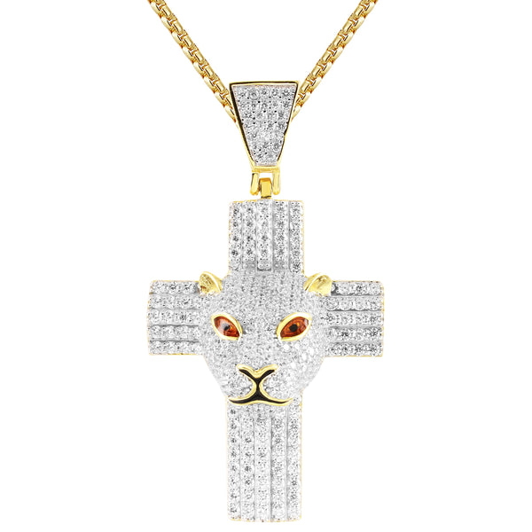 Men's Panther Face Iced Out Cross Designer Pendant Chain
