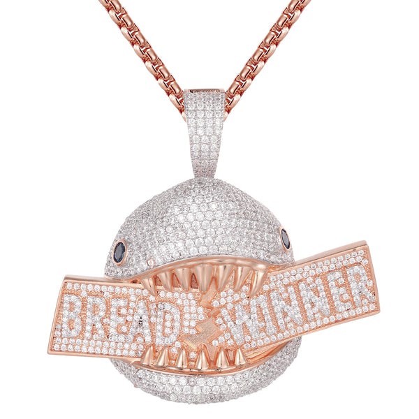 Rose Gold Hungry Shark Face Bread Winner Icy Hip Hop Pendant