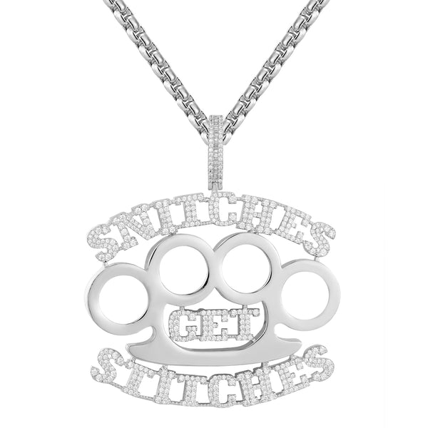 Bling Snitches get Stitches Icy Knuckle Fighter Pendant