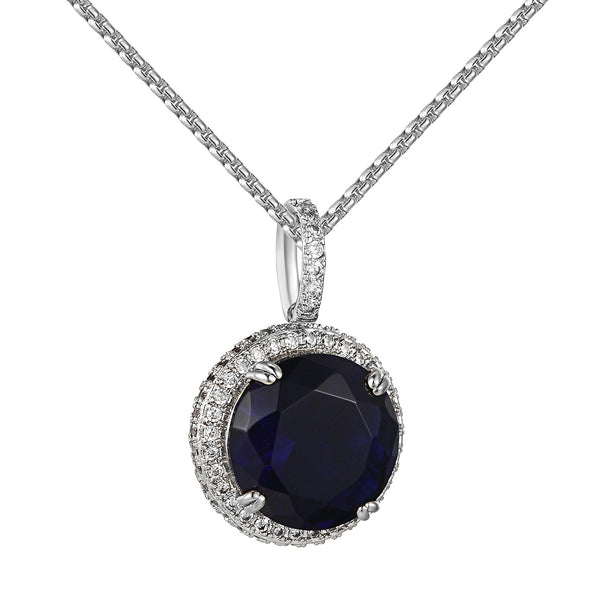 Hip Hop Iced Out Blue Ruby CZ Round Cut Solitaire Stainless Steel Free Chain 24