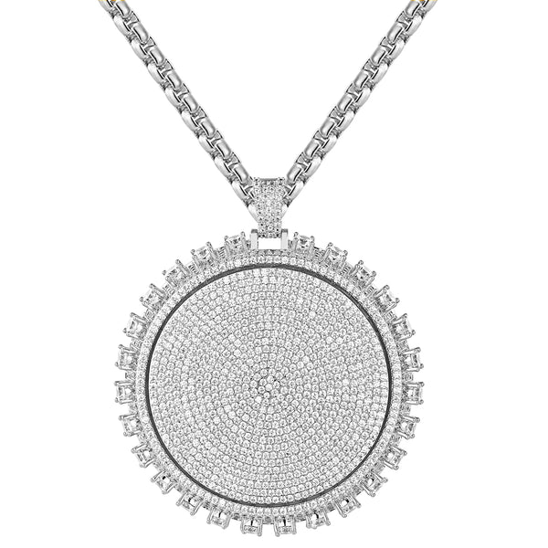New Iced Out 3D Round Medallion Solitaire Spinner Pendant