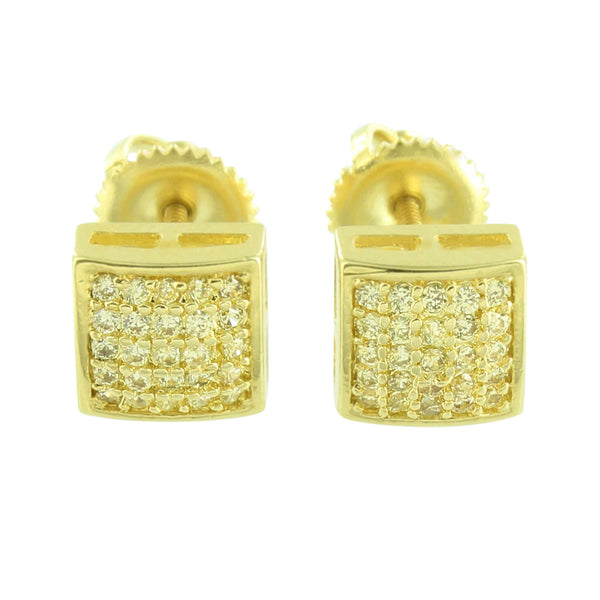 Gold Finish Mens Earrings Screw Back Studs