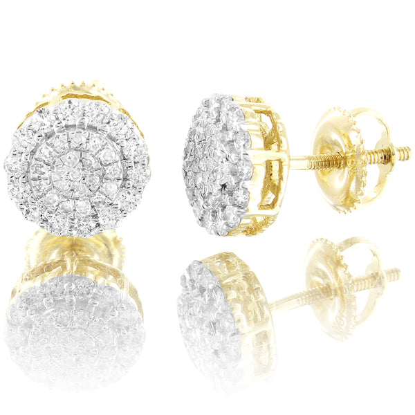 8mm Round Flower Cluster 10k Gold 0.4 Ct Real Diamonds Stud Earrings