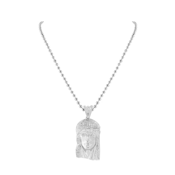 White Gold Finish Jesus Piece Pendant Christ Charm