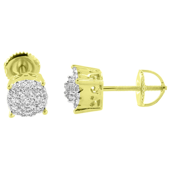 Cluster Set Round Earrings Screw Back 14K Yellow Gold Finish Simulated Diamonds 7mm Studs