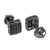 Black Finish Square Earrings Studs Mens Screw Back
