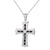 Solitaire Black Baguette Cross Silver Pendant Necklace