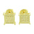 Square Shape Yellow Gold Finish Screw Back