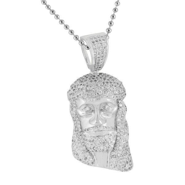 Jesus Pendant Stainless Steel Chain 14K White Gold Finish Lab Created Diamonds