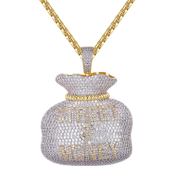 New Men's 3D Street Money Dollar Bag  Pendant