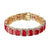 14k Gold Finish Red Ruby CZ Bracelet Rick Ross Hip Hop Iced Out Solitaire Custom