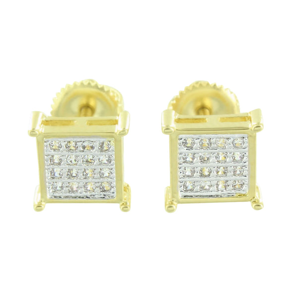 Square Shape Earrings Gold Finish Micro Pave