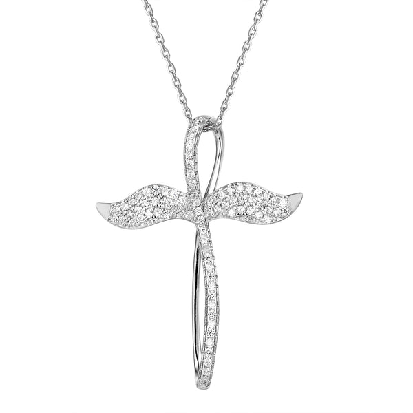 Infinity Design Angel Cross Silver Iced Out Pendant
