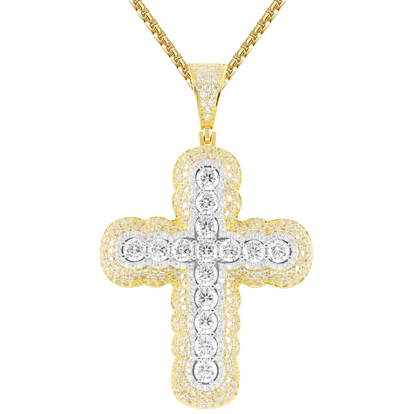 Silver Designer Religious Jesus Cross Iced Out Pendant Chain