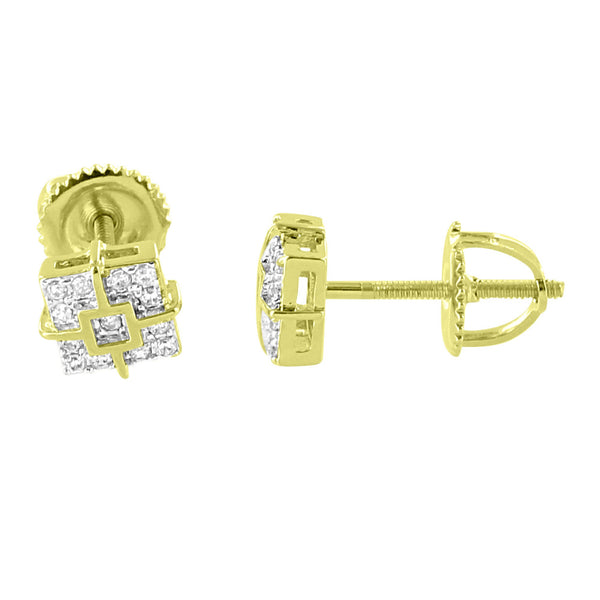 Square Face Earrings Bling Simulated Diamonds 14K Yellow Gold Finish Screw Back Studs