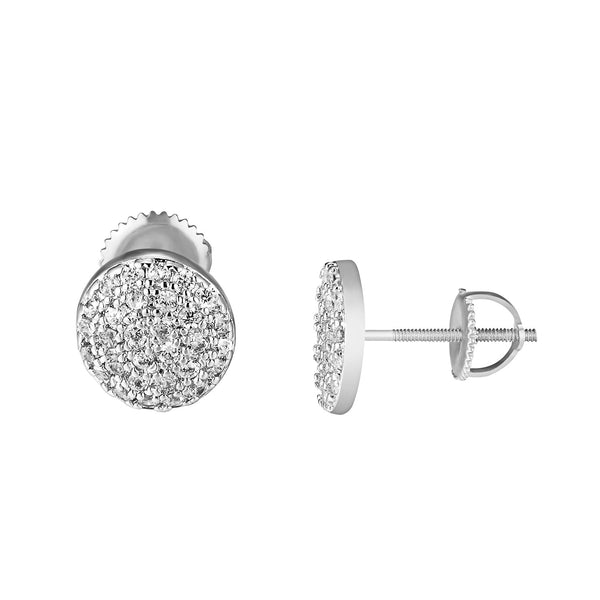 Cluster Set Round Shape Earrings Silver Tone Simulated Diamonds 7mm Studs Classy
